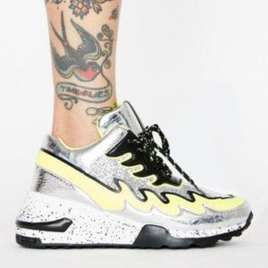 Vicious Heeled Fashion Sneakers in Silver & Lime